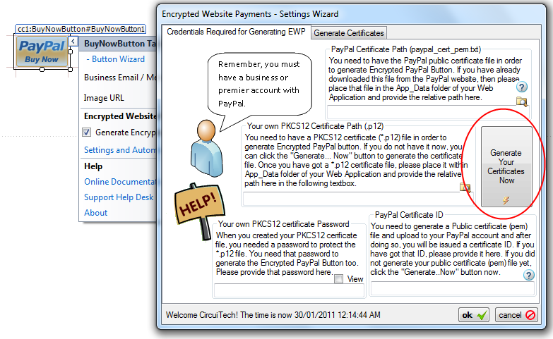 ewp Button For Generate Cert