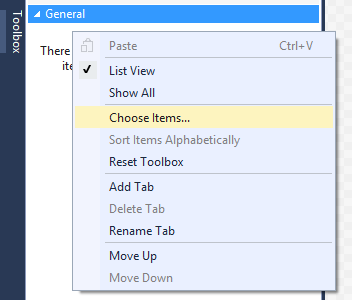 ChooseItems toolbox context menu item