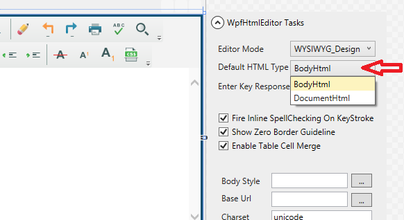 WPF HTML editor Default HTML Type