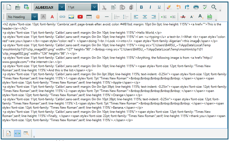 HTML pasted from Word