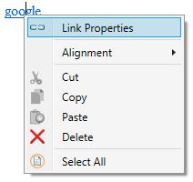 Context menu link