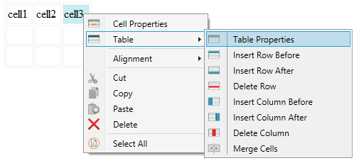 Context menu table