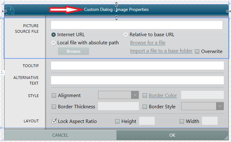 Custom image dialog